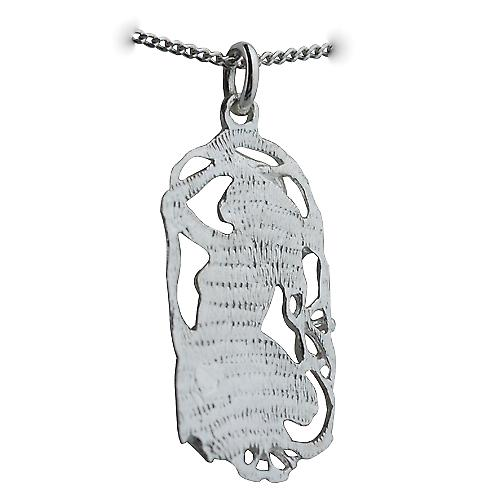 Silver 33x17mm Aries Zodiac Pendant with a curb Chain 24 inches