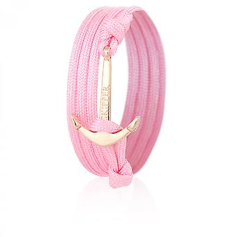 Skipper anchor bracelet wristband in pink Nylon with Golden anchor 6994