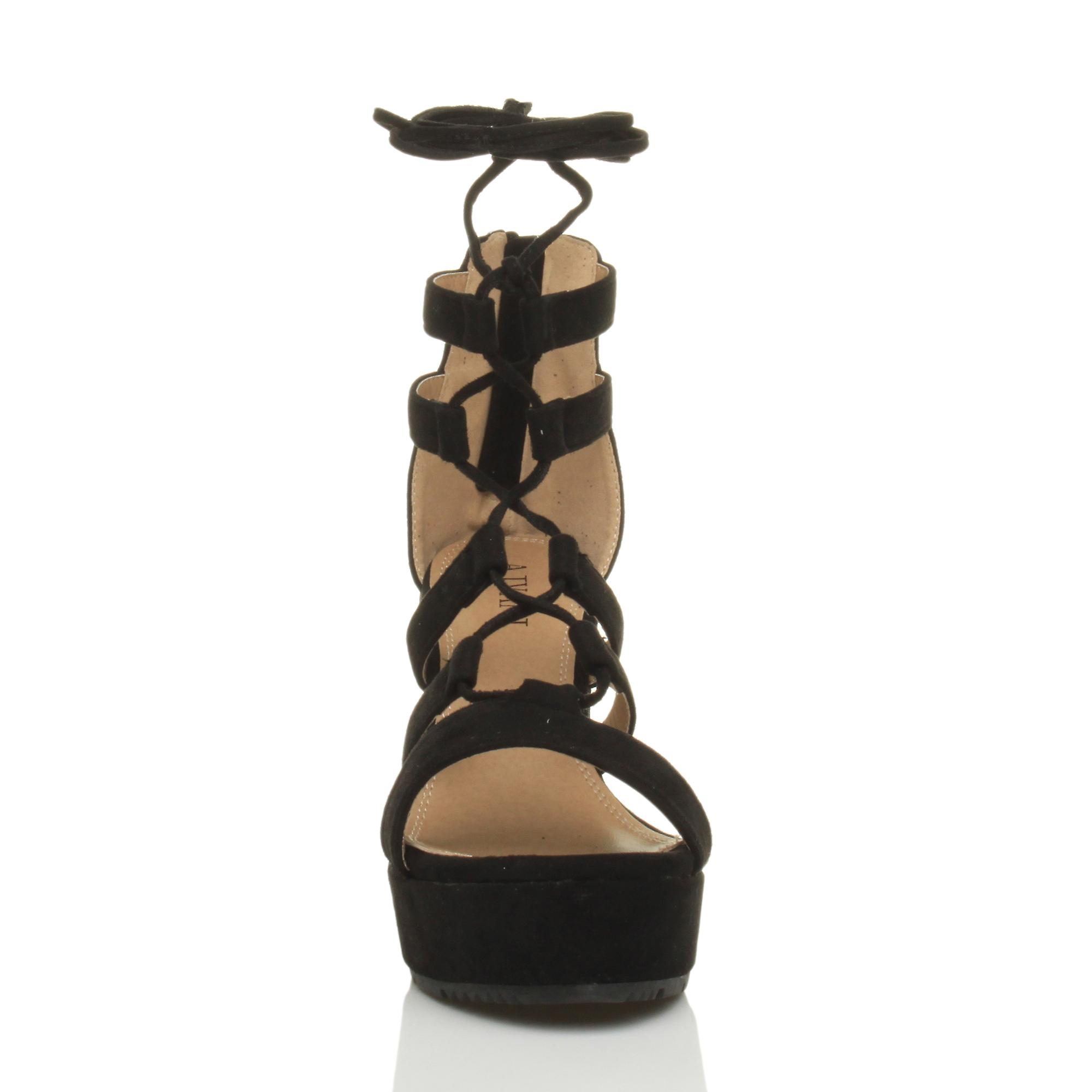 zip womens high wedge shoes Ajvani lace up tie sandals caged gladiator platform ghillie 8gxwdBqa
