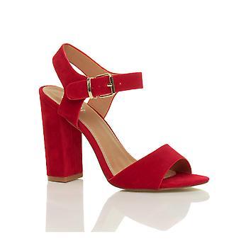 Ajvani dame høj blok hæl ankelrem spænde peep toe sko sandaler