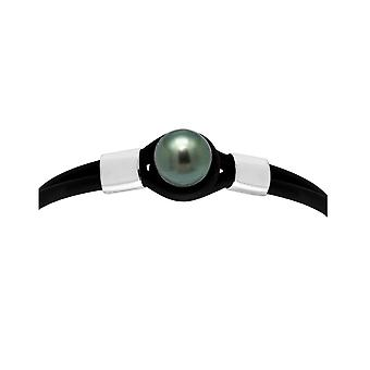 Man-woman black Neoprene bracelet, Pearl of Tahiti 10 mm black and Silver 925/1000