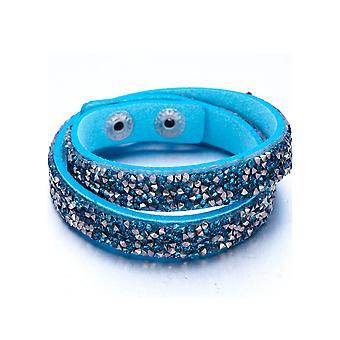 Bracelet Cristaux Turquoises et Argentés de Swarovski Elements et Cuir Turquoise