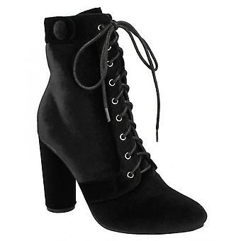 Spot On Womens/Ladies Lace Up Velvet Ankle Boots