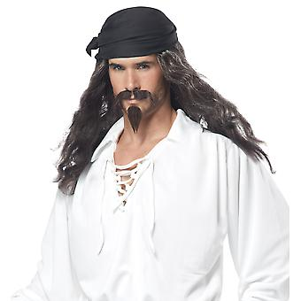 Pirate Captain Cutthroat Jack Sparrow Men Costume Wig Moustache & Chin Patch