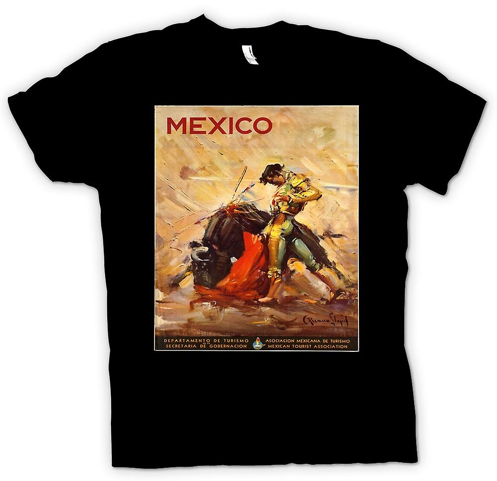 Mens T-shirt - Mexico Bull Fighting - Vintage Poster