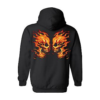 Unisex Pullover Hoodie Flamme Face Off Schädel