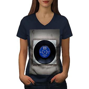 Go Retro Vintage Music Women NavyV-Neck T-shirt | Wellcoda