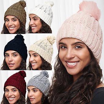 Ladies Cap plain mössa Bobble mössa mössa ny varm Bobble