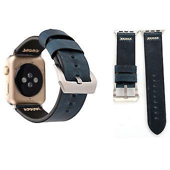 Echt-Leder Armband für Apple Watch Serie 1 / 2 / 3 42 mm Blau