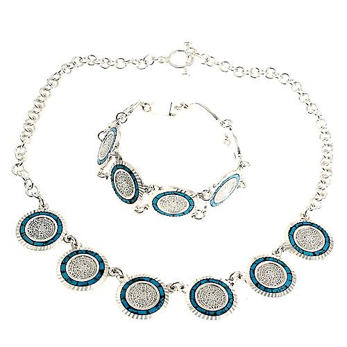 Turquoise Inca Silver Necklace Earrings Set