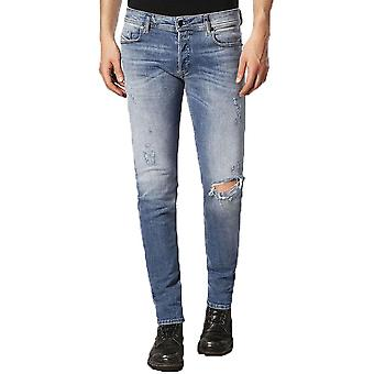 Diesel Sleenker 084gl Distressed Skinny Jeans - Light Blue