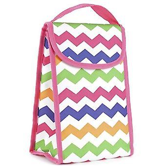 Qualität 600D Polyester persönliche Zick Zack Design Lunch Bag - Kühltasche mit harten Velctro Verschluss