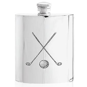 Golf Crossed Clubs Pewter Hip Flask - 6oz