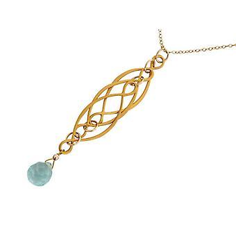 Aquamarine necklace ladies necklace aquamarine quartz blue gold plated
