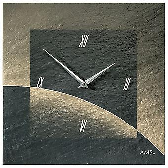 AMS 9519 wall clock quartz of slate natural slate airbrush design slate watch golden