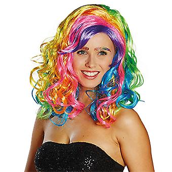 Rainbow shoulder length curly wig women's Rainbow accessory Carnival