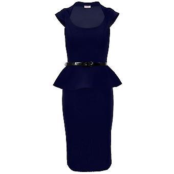 Ladies Cap Sleeve Belted Peplum Knee Length Frill Pencil Skirt Bodycon Womens Dress