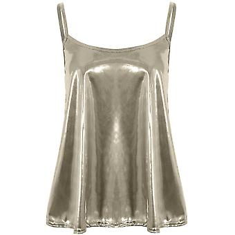 Ladies Thin Strap Flared Metallic Shiny Stretch Baggy Cami Swing Mini Party Top