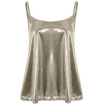 Dames dunne riem laaide Metallic glanzende Stretch Baggy Cami Swing Mini Party Top