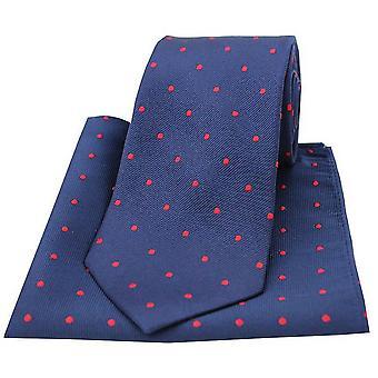 David Van Hagen Polka Dot gravata e lenço de bolso conjunto - Marinha/vermelho