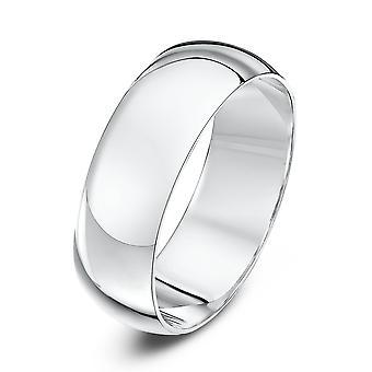 Star Wedding Rings 9ct White Gold Heavy D Shape 7mm Wedding Ring