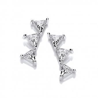 Cavendish franske sølv og cubic zirconia trekant bjergbestiger øreringe