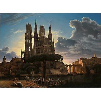 Cattedrale gotica del, Karl friedrich schinkel, 50x40cm