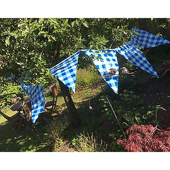 SALE - Giant 7.3m Polythene Blue & White Gingham Bunting - Indoors & Outdoors