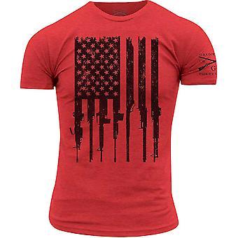 Grunt Style R.E.D. Rifle Flag Crewneck T-Shirt - Red
