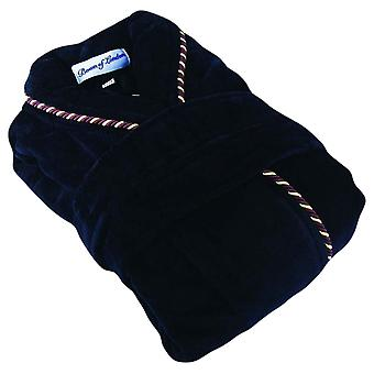 Bown von London Earl Baumwolle Velours-Bademantel - Navy