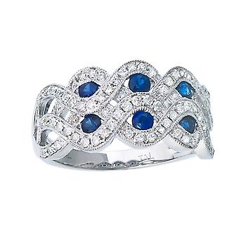 14k White Gold Braided 2 Row Sapphire and Diamond Wide Band Ring