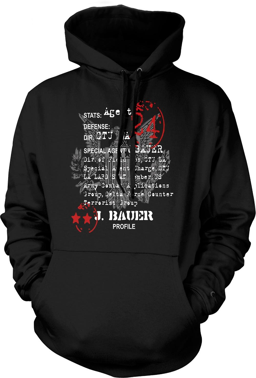 Mens Hoodie - 24 Jack Bauer CTU Agent CIA - TV - Movie