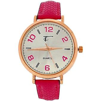 Time Collection Analogue Ladies Girls Hot Pink PU Strap Watch TC73B