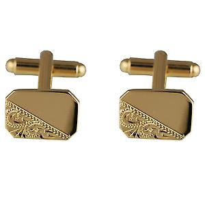 Hard Gold Plated 11x15mm cut corner hand engraved Cufflinks