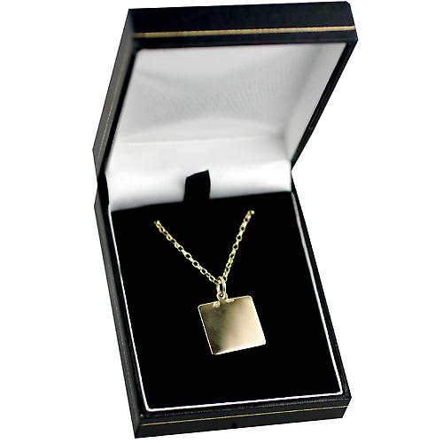 9ct Gold 17x17mm square St Christopher with Belcher chain