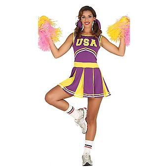 Womens Purple USA Cheerleader Fancy Dress Costume