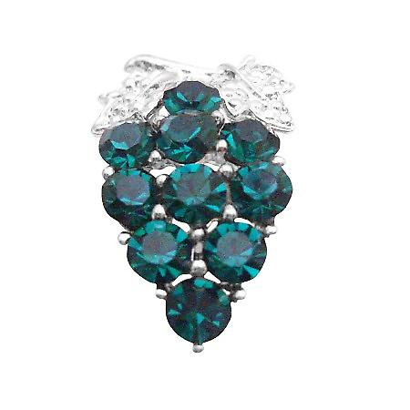Wedding Brooch Emerald Crystals Brooch Gorgeous Gift