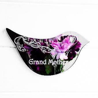 Floral Dove Acrylic Mirror Door or Wall Sign - GRAND MOTHER