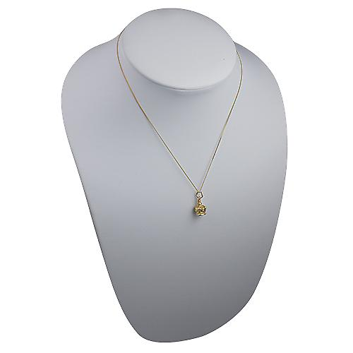9ct Gold 12x10mm Royal Crown Pendant with a Curb Chain 16 inches Only Suitable for Children
