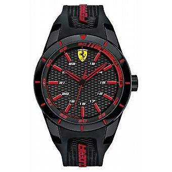 Scuderia Ferrari Red Rev Black Silicone Strap Black red Dial 0830245 Watch