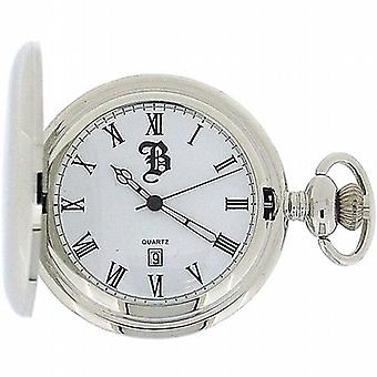 Boxx Silver Tone Gents Date Pocket Watch on 12 Inch Chain Boxx59