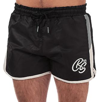 Mens Crosshatch Barli Shorts In Black- Ribbed Waistband- External Drawstrings-