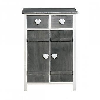 Rebecca meuble placard mobile Love blanc gris Shabby boutons coeur cuisine salon