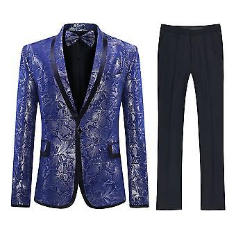 Allthemen mäns Tuxedo kostym scen Performance Party 2-stycken kostym Blazer & byxor