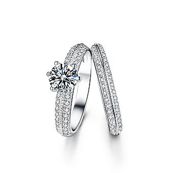 925 Sterling Silver Round Solitaire Milgrain Wedding Band Ring Set
