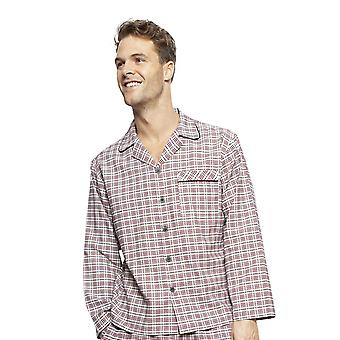 Cyberjammies 6406 Uomini's Joseph Burgundy Red Mix Check Cotton A maniche lunghe Pyjama Top