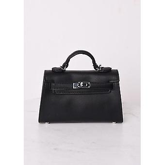 Faux Leather Mini Tote Bag Black