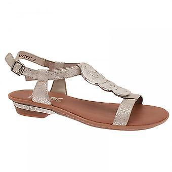 Rieker Silver Women's Ankle Strap Low Heel Sandal