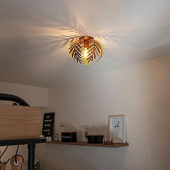 QAZQA techo Vintage lámpara hoja pequeño oro - Botanica