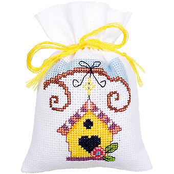 Bird And Bird Houses Bags On Aida Counted Cross Stitch Kit-3.25